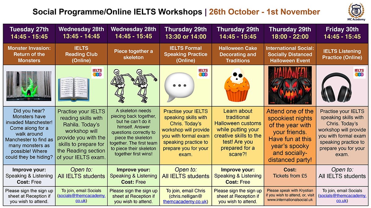 Activities 19th October - 25th October