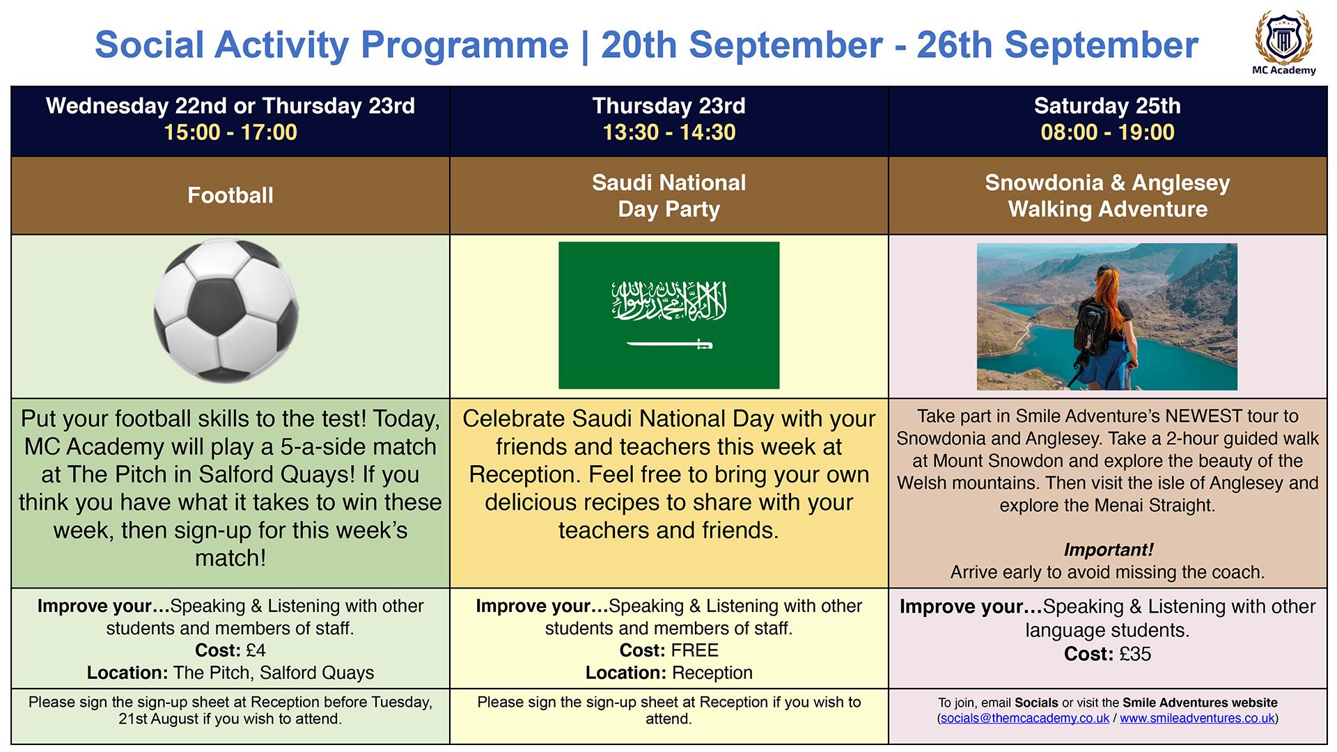 Activities 20th September - 26th September